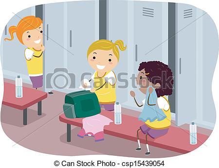 Clipart Vector of Girls Locker Room.