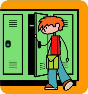 Kids at lockers clipart.