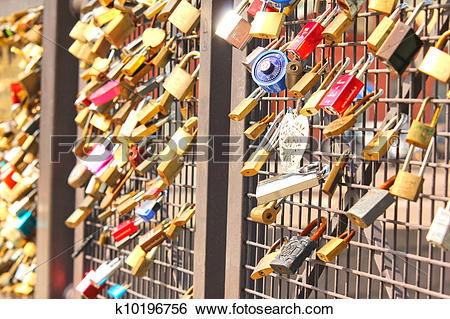 Stock Images of Bridge of love, locks locked onto a bridge.
