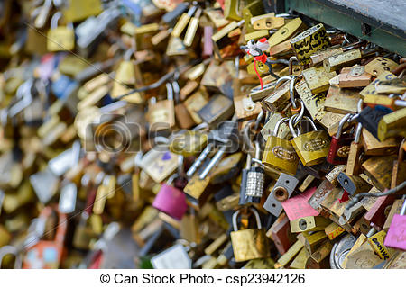 Stock Photo of Love Lock Bridge in Paris csp23942126.