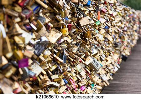 Stock Photography of Locks of Pont Des Arts in Paris, France.