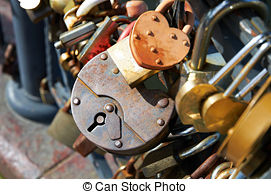 Stock Photography of Many Love locks on the bridge, Bernatka.