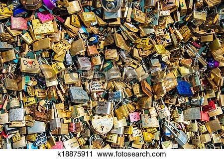 Stock Photography of Locks of love at Paris bridge k18875911.