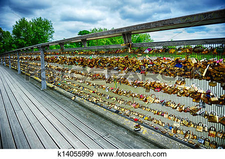 Stock Photograph of Love locks on Paris bridge k14055999.