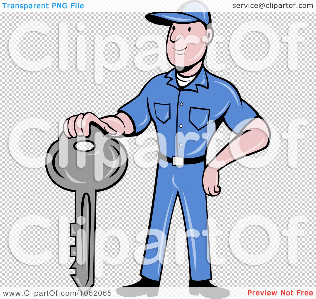 Clipart Locksmith Worker Man With A Key.