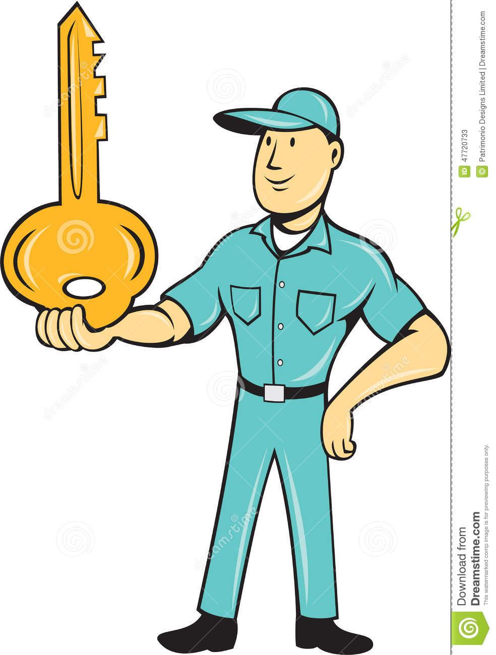 Locksmith Balancing Key Palm Cartoon Stock Vector.