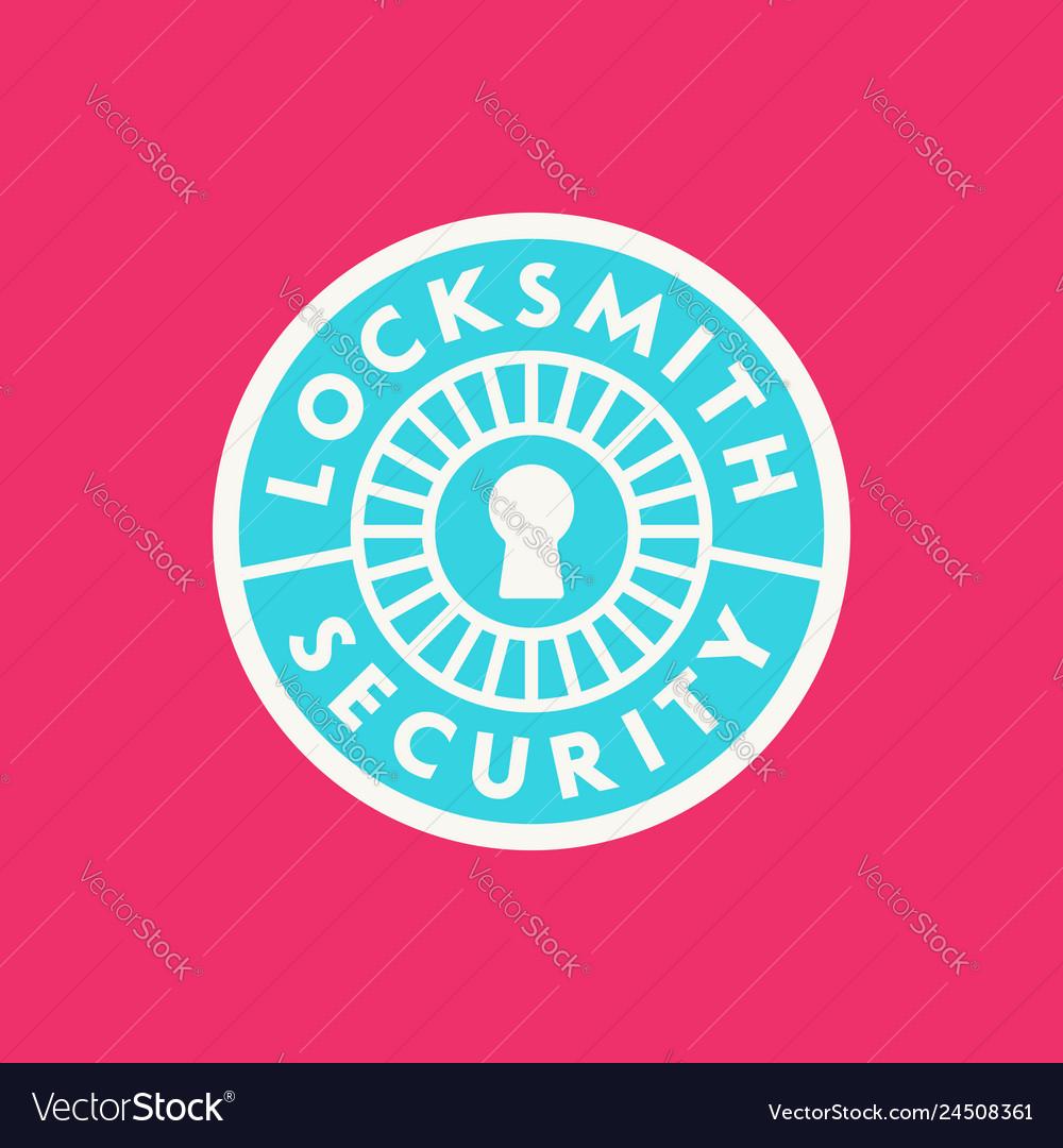 Vintage locksmith logo retro styled key cutting.