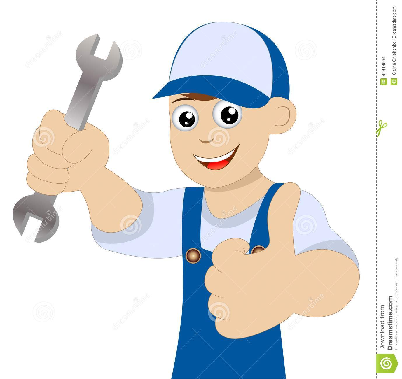 Man A Locksmith With A Wrench In Hand Stock Vector.
