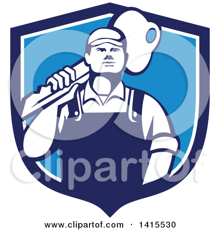 Clipart of a Cartoon Male Locksmith Carrying a Giant Gold Key over.