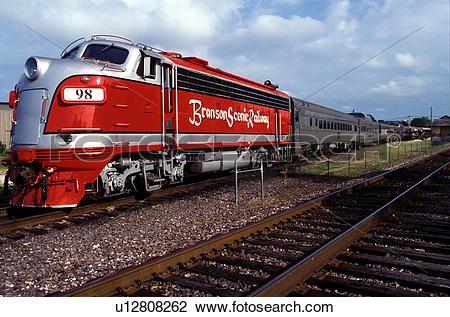 Stock Photo of locomotive, train, scenic railway, Branson, MO.