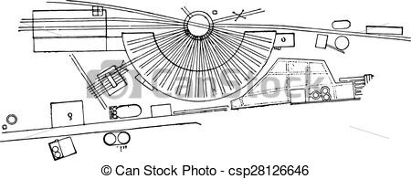 EPS Vector of Roundhouse for locomotives, vintage engraving.