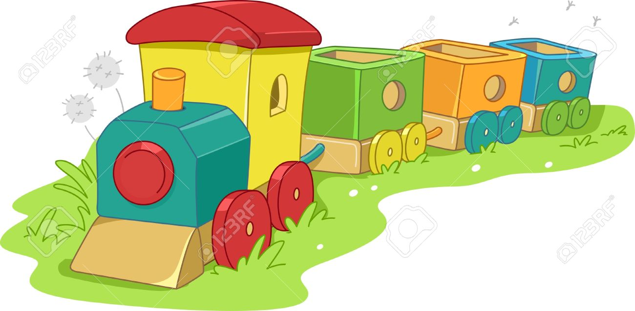 Illustration Of A Toy Train Stock Photo, Picture And Royalty Free.