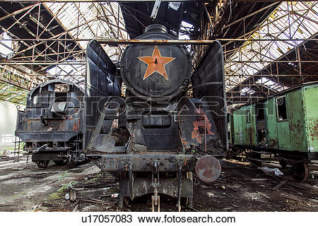 "Stock Photo of ""Old abandoned steam trains in railway shed, Inota."