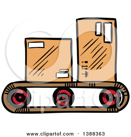 Clipart of a Black and White Sketched Crane Hook Lifting a Cargo.