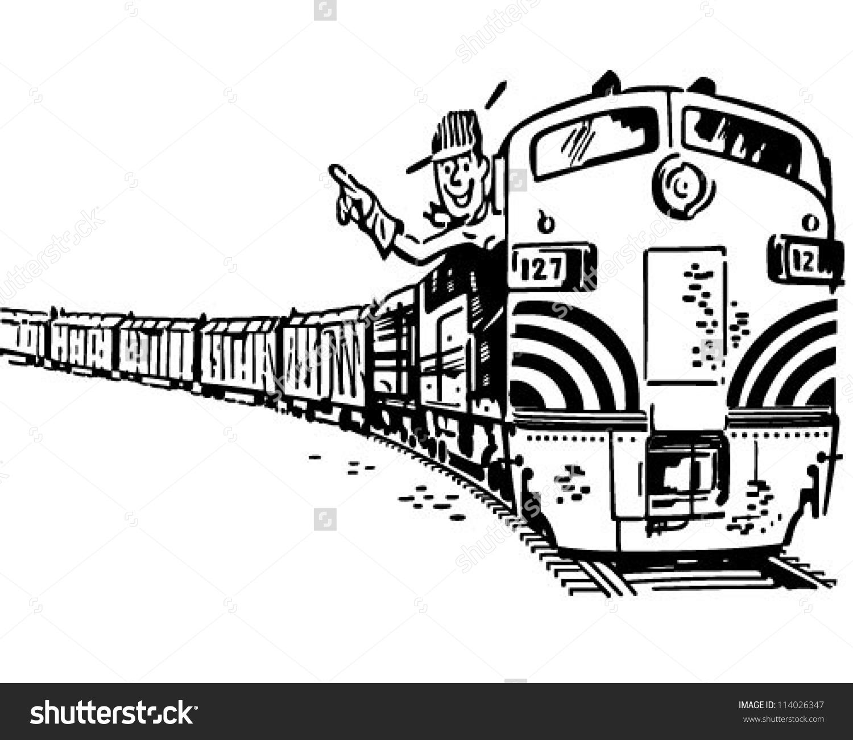 Engineer Locomotive Retro Clipart Illustration Stock Vector.