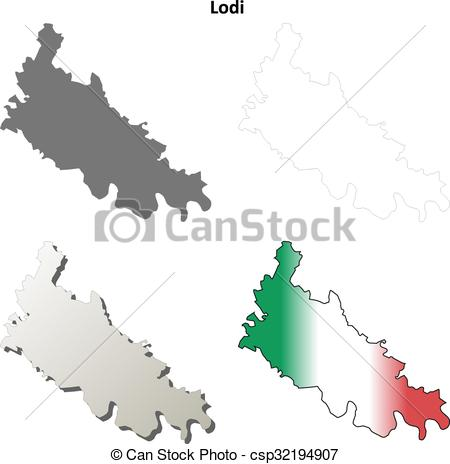 Vector Clipart of Lodi blank detailed outline map set.