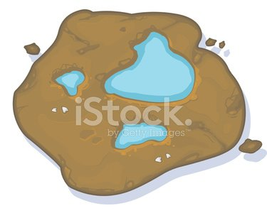 Puddles in Mud. Clipart Image.