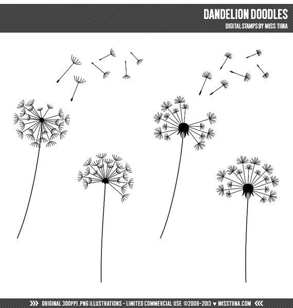 Dandelion Doodles Digital Stamps Clipart Clip Art Illustrations.