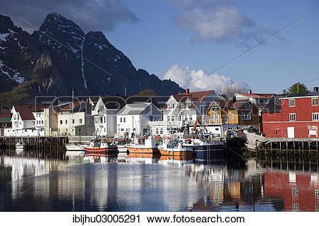 "Stock Photography of ""View of the harbor, Henningsvaer."