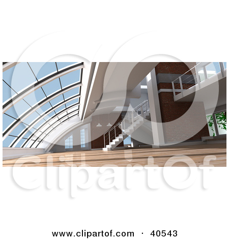 Clipart Illustration of an Open Modern Loft Interior With.