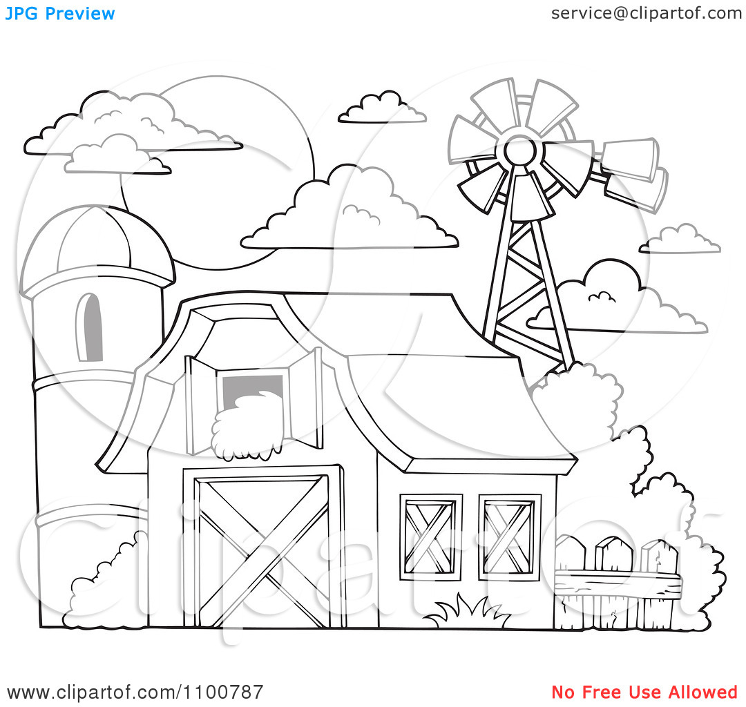 Clipart Outlined Barn With Hay In The Loft A Silo And Windmill.