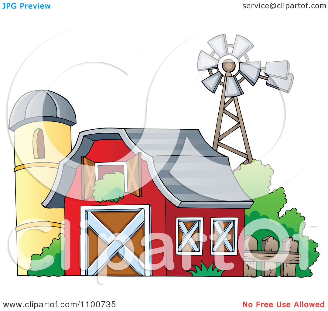 Clipart Red Barn With An Open Hay Loft A Silo And Windmill.