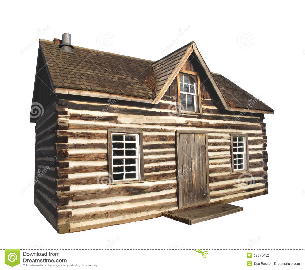 Old Log Cabin Isolated Stock Photography.