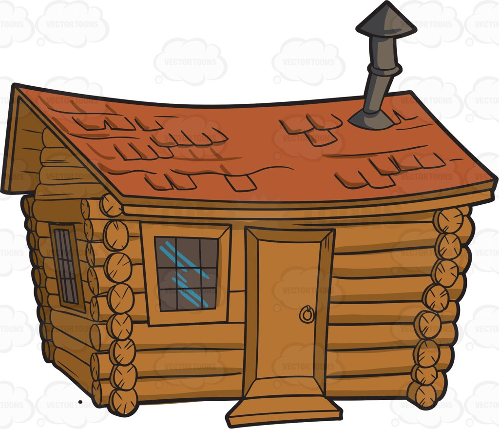 Snowy log cabin clipart kid.