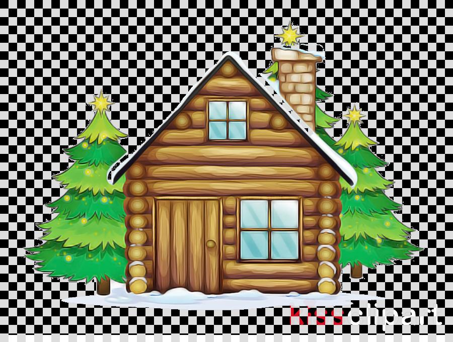 log cabin home fir house cottage clipart.