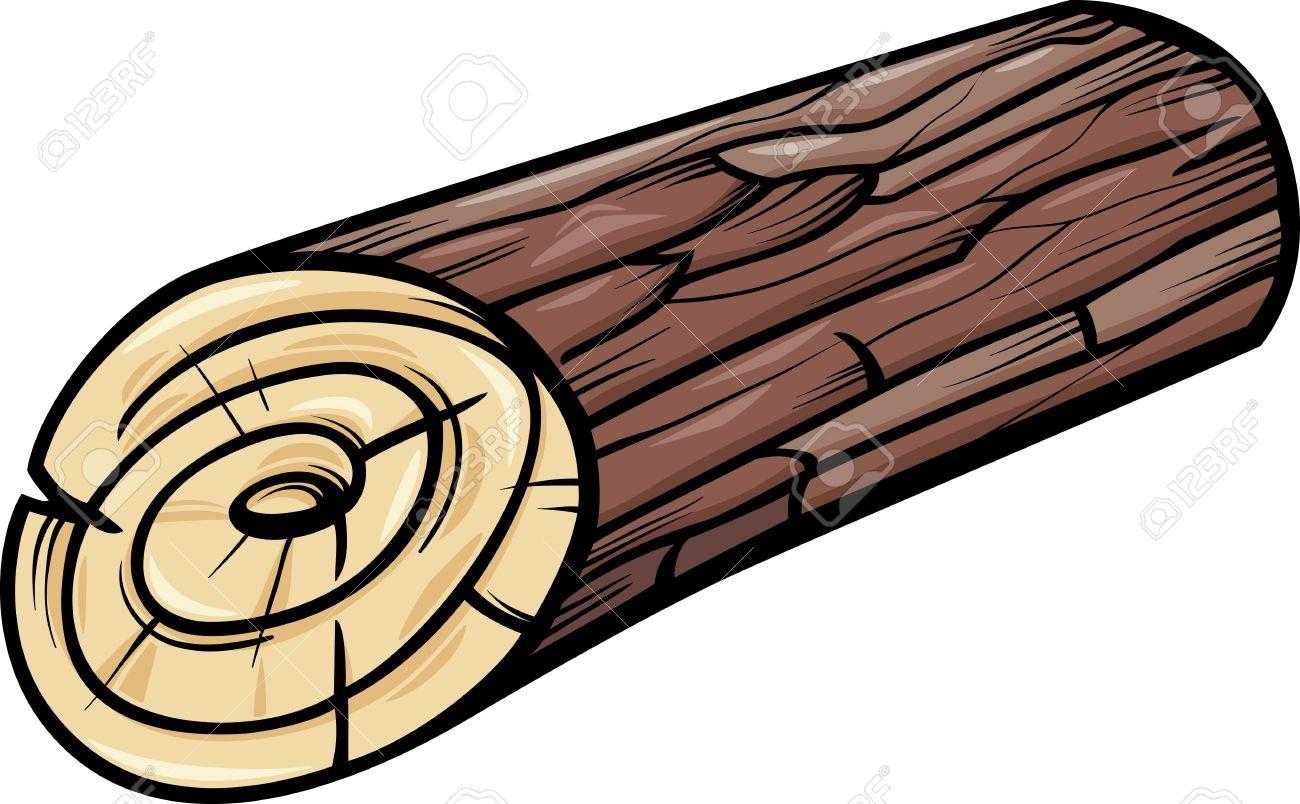 Cartoon Illustration of Wooden Log or Stump Clip Art.
