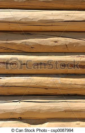 Stock Photo of log home wall detail.
