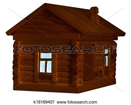 Picture of exterior of wooden log house at night k18169407.