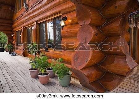 Stock Photo of Exterior of cottage style log home with 46 foot.