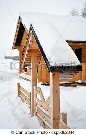 Stock Photo of Wooden entrance, log home.
