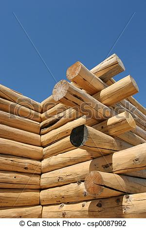 Stock Photo of log home under construction.
