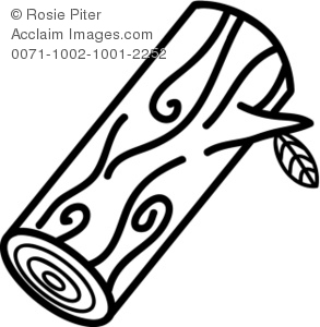 Clipart Illustration of a Log With a Leaf.