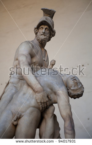 Statue Greek Hero Menelaus Loggia Dei Stock Photo 81011809.