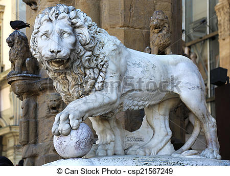 Stock Photo of Vacca Lion Loggia dei Lanzi.