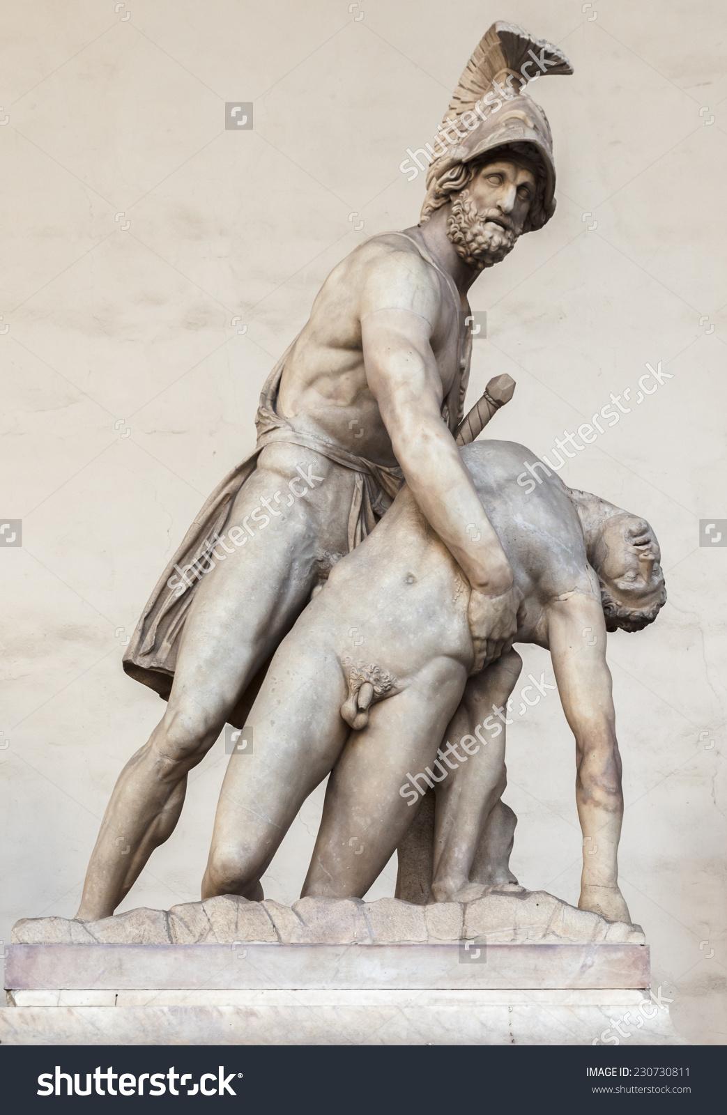 Statue Of Menelaus Holding The Dead Patroclus In The Loggia Dei.