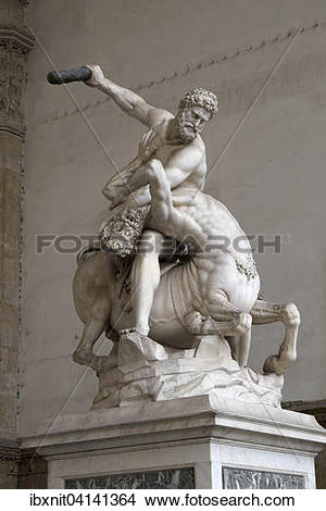 Stock Photo of Sculpture of Hercules and Nessus in the Loggia dei.