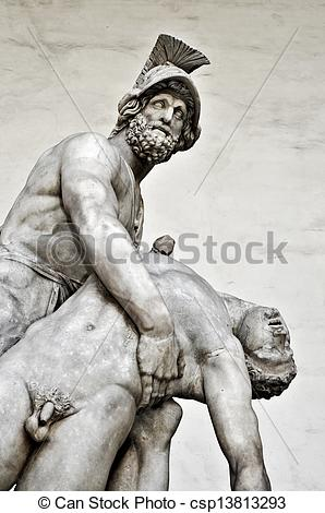 Stock Photographs of Detail of the ancient sculpture Menelaus.