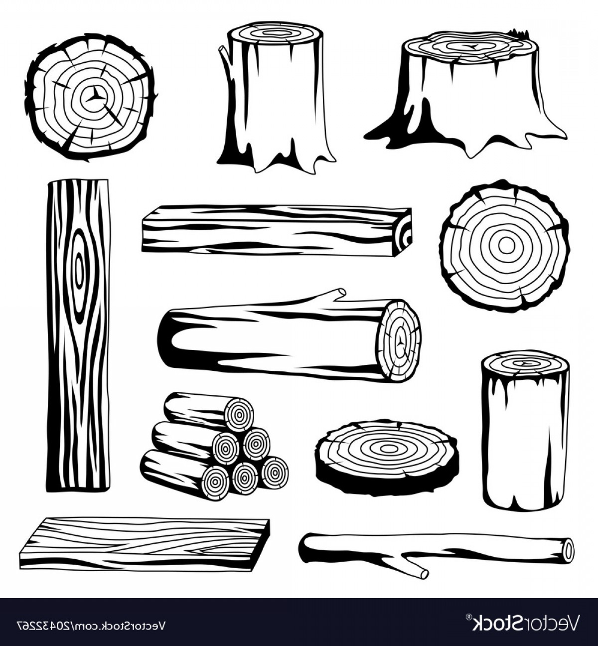Set Of Wood Logs For Forestry And Lumber Industry Vector.