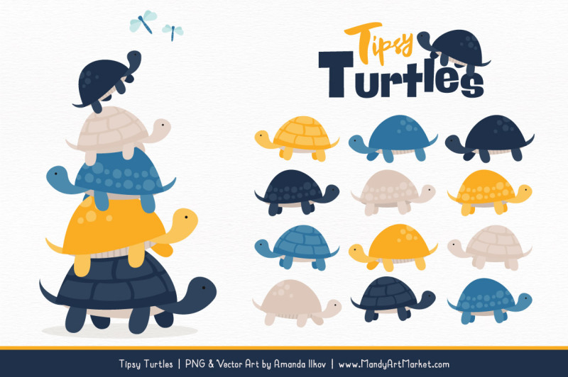 Sweet Stacks Tipsy Turtles Stack Clipart in Navy & Lemon By.