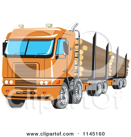 Clipart of a Retro Big Rig Logging Truck.