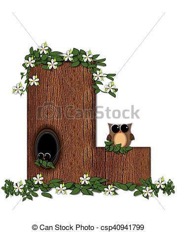 Stock Illustration of Alphabet Log Home L.