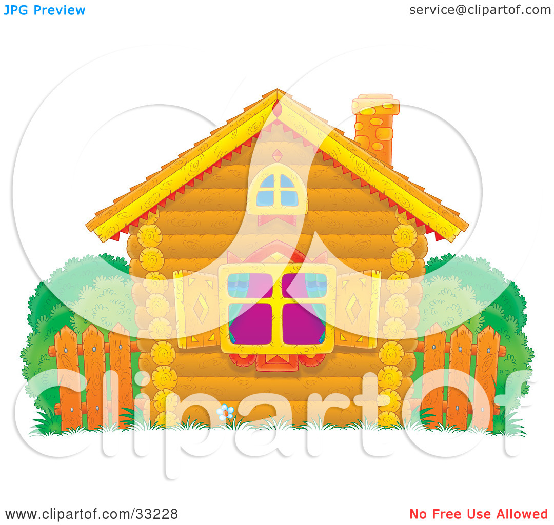 Clipart Illustration of a Small Log Home With Diamond Shutters, A.