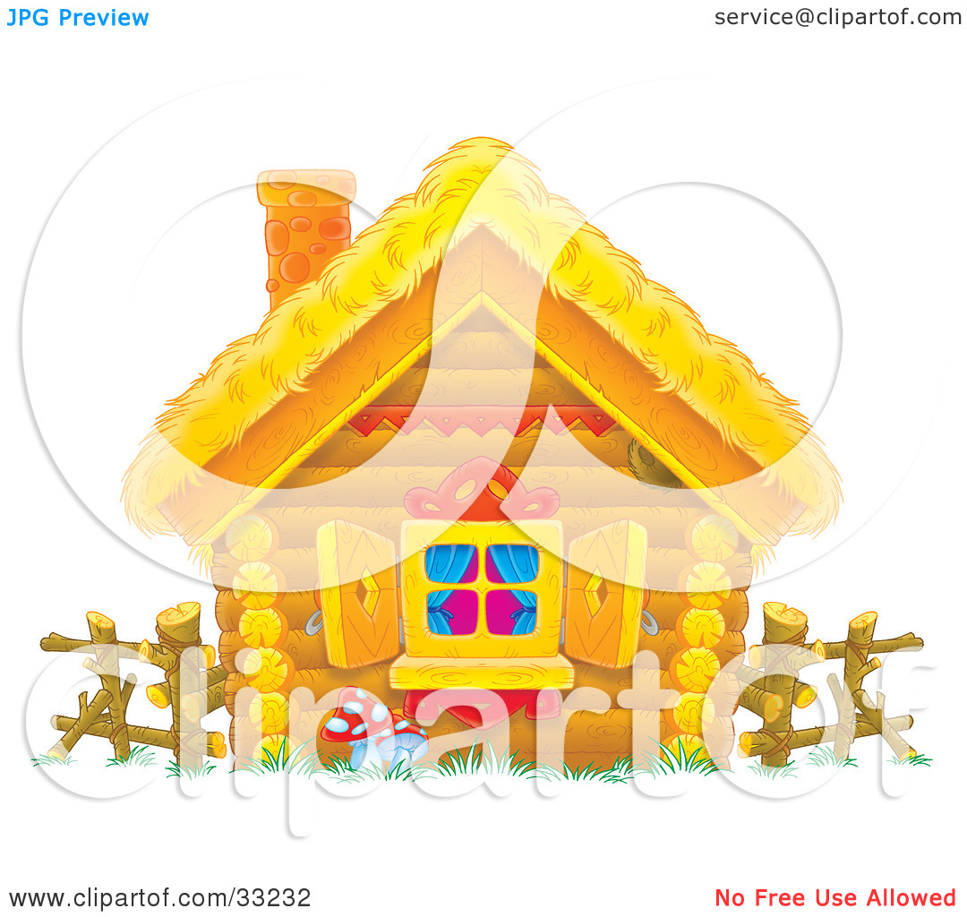 Clipart Illustration of a Log Home With A Straw Roof, Log Fence.