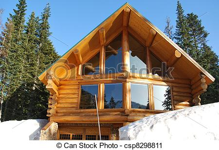Stock Photography of Log Home.