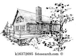 Log home Clip Art and Stock Illustrations. 680 log home EPS.