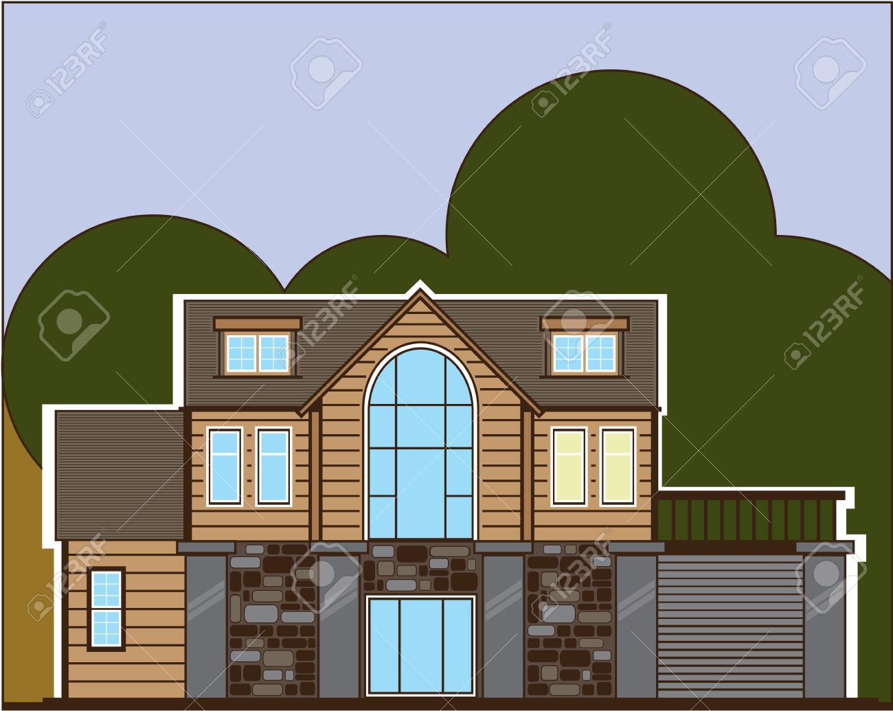 Log Home Vector Illustration Clip.